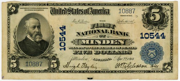 First National Bank of Minden National Currency dollar bill