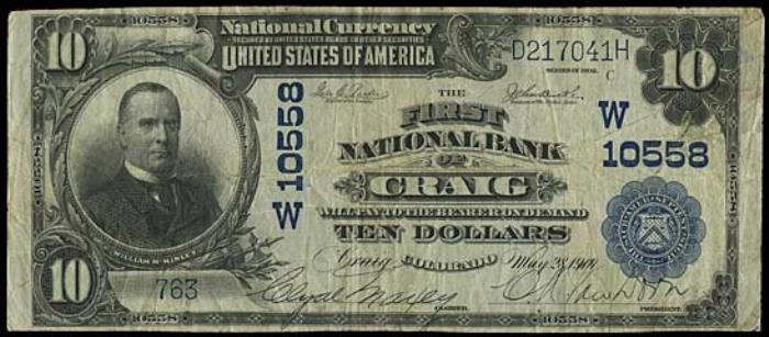 First National Bank of Craig National Currency dollar bill