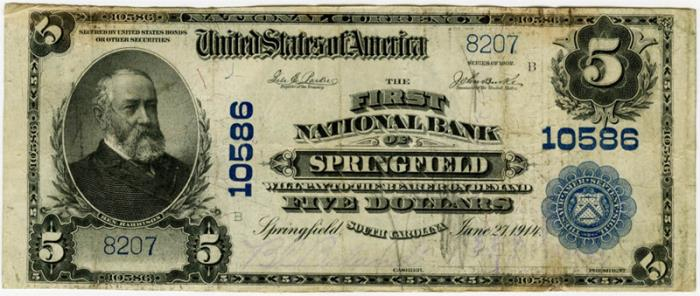 First National Bank of Springfield National Currency dollar bill