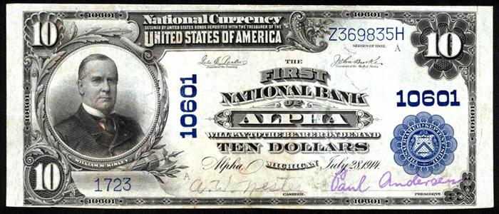 First National Bank of Alpha (10601) Ten Dollar Bill Series 1902 Blue Seal