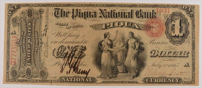 Citizens National Bank and Trust Company of Piqua National Currency dollar bill