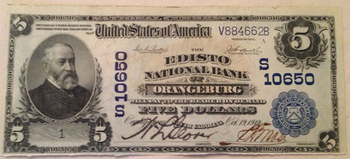 Edisto National Bank of Orangeburg National Currency dollar bill