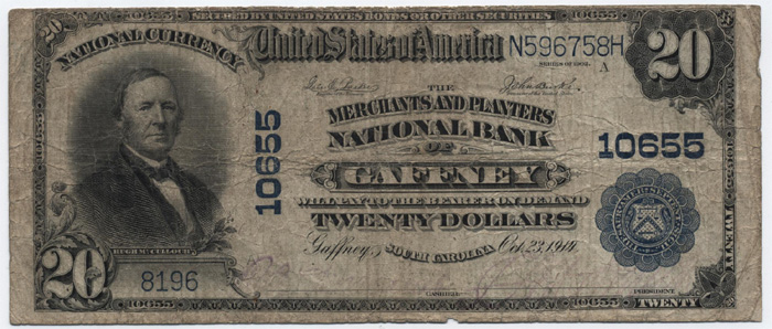 Merchants and Planters National Bank of Gaffney National Currency dollar bill