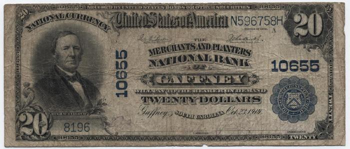 Merchants and Planters National Bank of Gaffney (10655) Twenty Dollar Bill Series 1902 Blue Seal