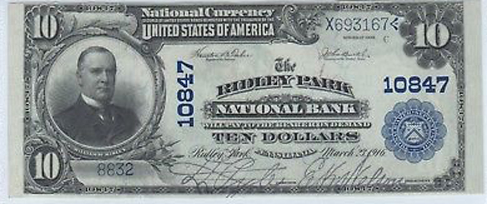 Ridley Park National Bank, Ridley Park National Currency dollar bill