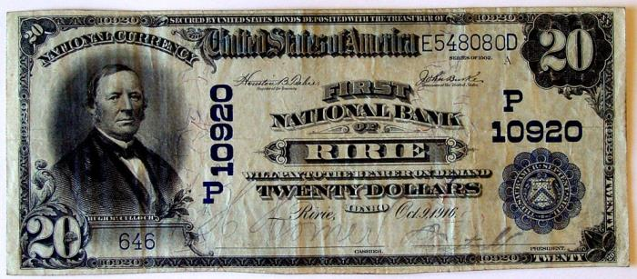 First National Bank of Ririe National Currency dollar bill