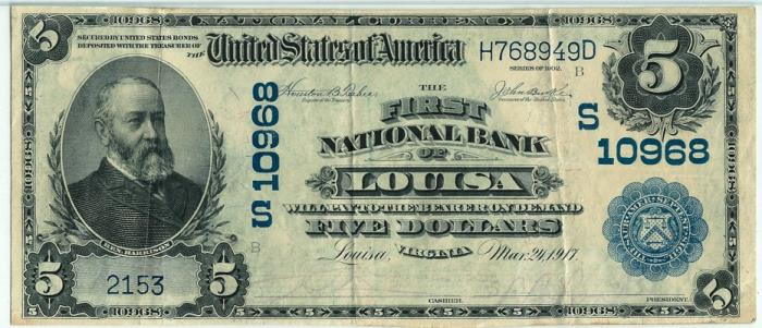 First National Bank of Louisa National Currency dollar bill
