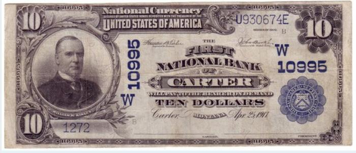 First National Bank of Carter National Currency dollar bill