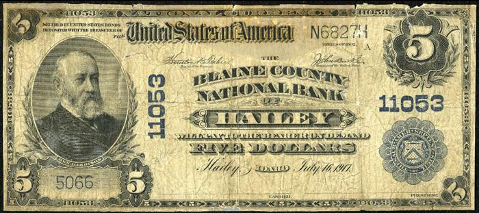 Blaine County National Bank of Hailey National Currency dollar bill