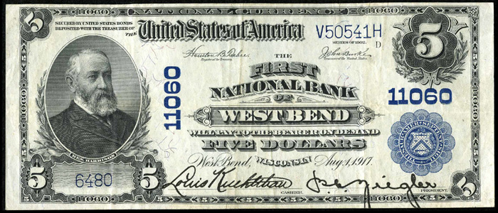 First National Bank of West Bend National Currency dollar bill