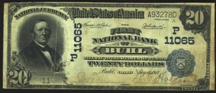 First National Bank of Buhl National Currency dollar bill
