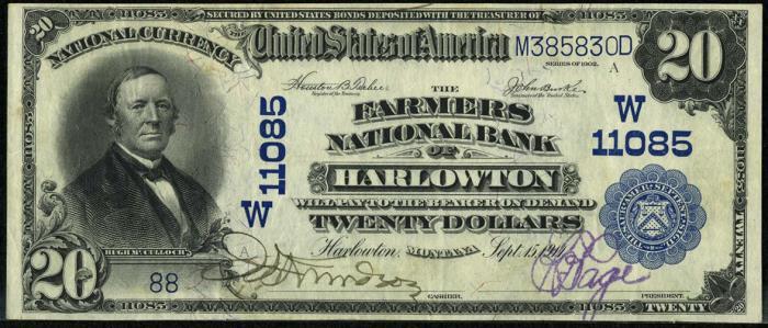 Farmers National Bank of Harlowtown (11085) Twenty Dollar Bill Series 1902 Blue Seal