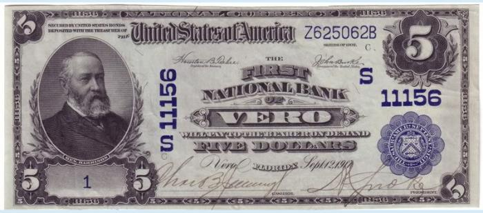 First National Bank of Vero National Currency dollar bill