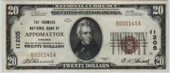Farmers National Bank of Appomattox National Currency dollar bill