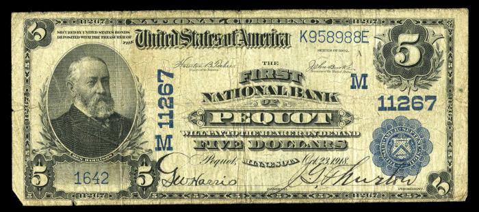 First National Bank of Pequot National Currency dollar bill