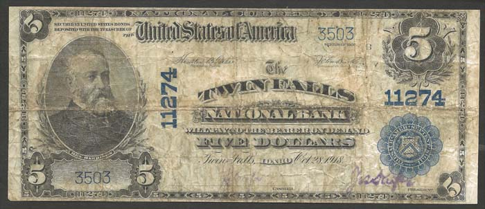 Twin Falls National Bank, Twin Falls National Currency dollar bill