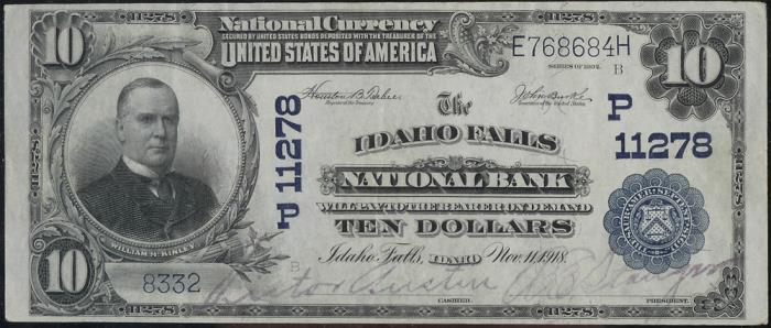 Idaho Falls National Bank National Currency dollar bill