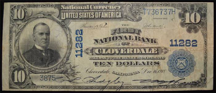 First National Bank of Cloverdale National Currency dollar bill