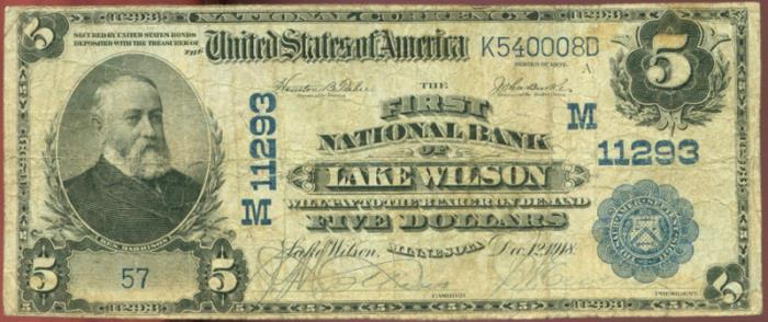 First National Bank, Lake Wilson National Currency dollar bill