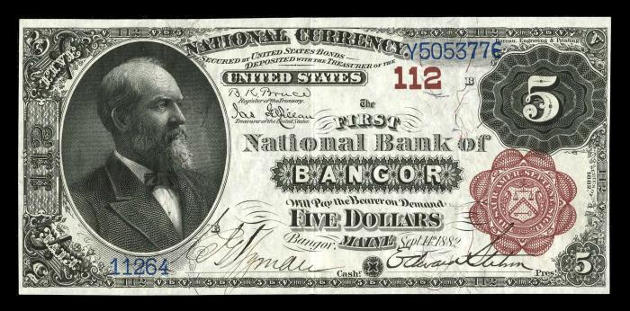 First National Bank of Bangor (112) Five Dollar Bill Series 1882 Brownback