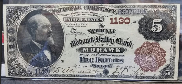 National Mohawk Valley Bank of Mohawk National Currency dollar bill