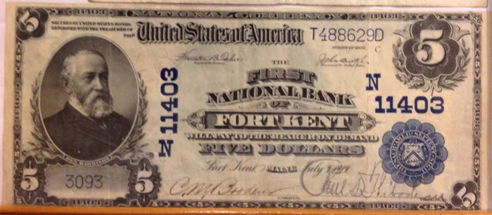 First National Bank of Fort Kent National Currency dollar bill