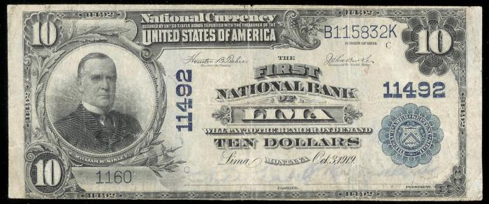 Security National Bank of Lima National Currency dollar bill