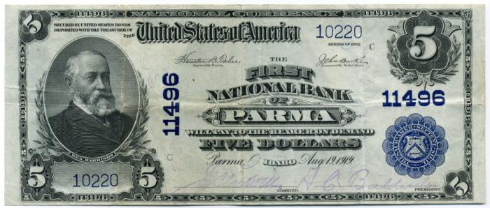 First National Bank of Parma National Currency dollar bill