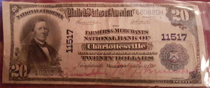 Farmers and Merchants National Bank of Charlottesville National Currency dollar bill
