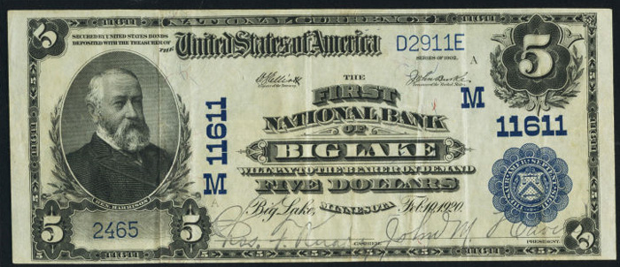 First National Bank of Big Lake National Currency dollar bill