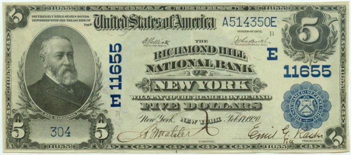Richmond Hill National Bank of New York National Currency dollar bill