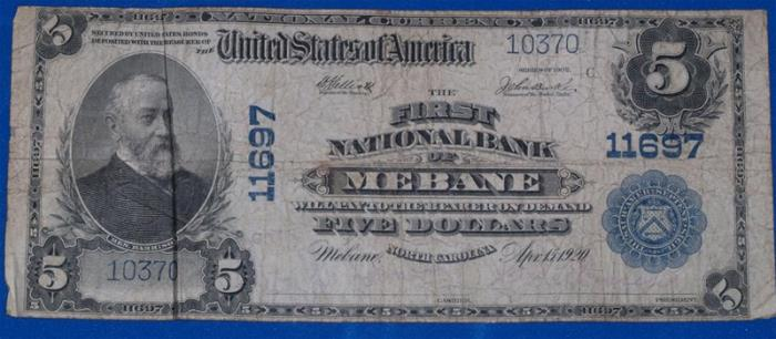 First National Bank of Mebane National Currency dollar bill