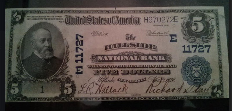 Hillside National Bank, Hillside National Currency dollar bill
