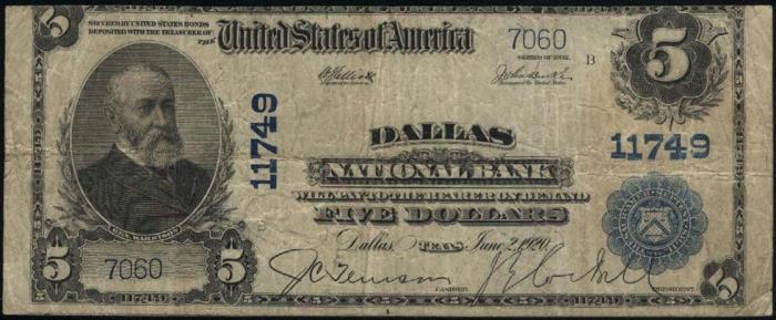 Dallas National Bank, Dallas National Currency dollar bill