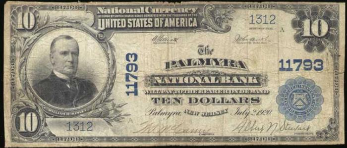 Palmyra National Bank, Palmyra National Currency dollar bill