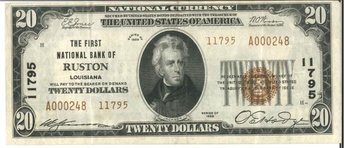 First National Bank of Ruston (11795) Twenty Dollar Bill Series 1929