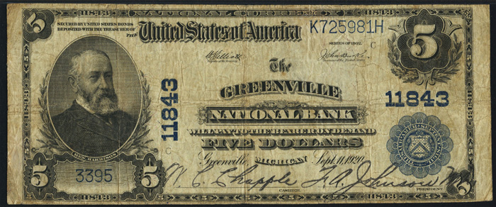 Greenville National Bank, Greenville National Currency dollar bill