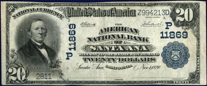 American National Bank of Santa Ana National Currency dollar bill