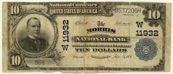 Morris National Bank, Morris National Currency dollar bill