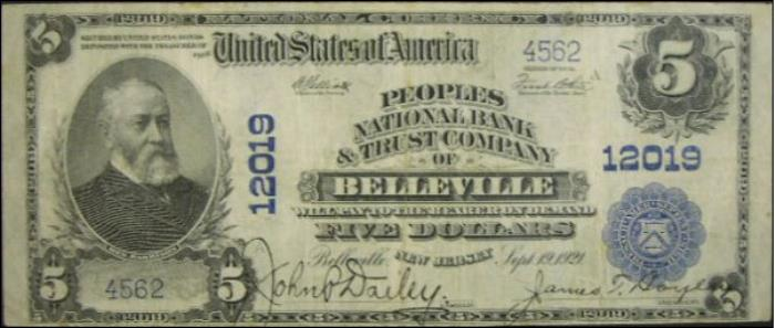 Peoples National Bank and Trust Company of Belleville National Currency dollar bill