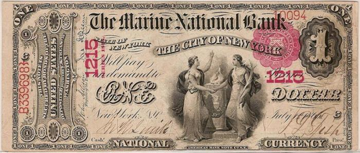 Marine National Bank of The City of NY (1215) One Dollar Bill Series 1875