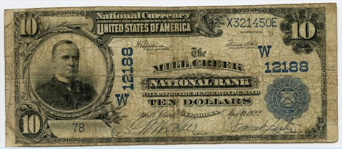 Mill Creek National Bank, Mill Creek National Currency dollar bill