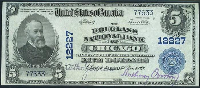 Douglass National Bank of Chicago (12227) Five Dollar Bill Series 1902 Blue Seal