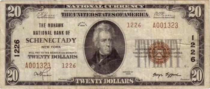 Mohawk National Bank of Schenectady National Currency dollar bill