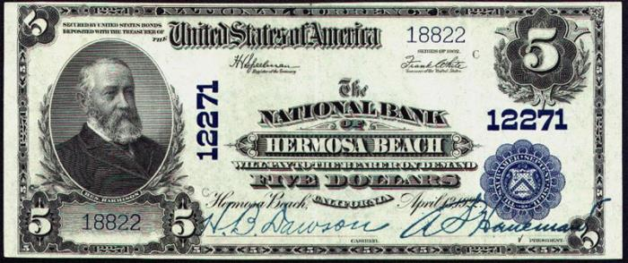 National Bank of Hermosa Beach National Currency dollar bill