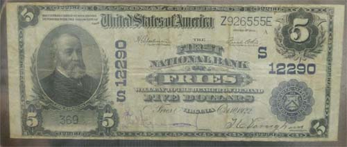 First National Bank of Fries National Currency dollar bill