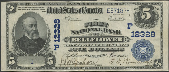 First National Bank of Bellflower National Currency dollar bill