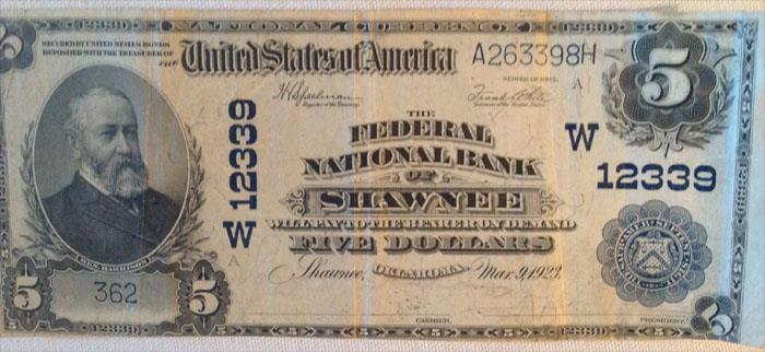 Federal National Bank of Shawnee National Currency dollar bill