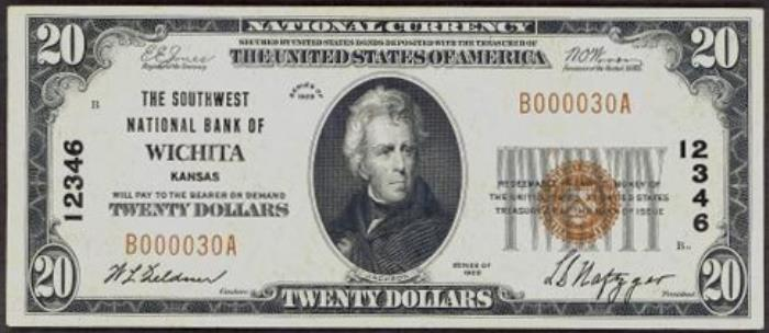 Southwest National Bank of Wichita National Currency dollar bill