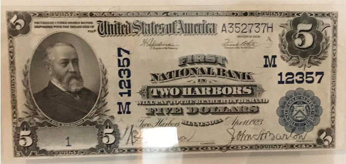 First National Bank in Two Harbors National Currency dollar bill
